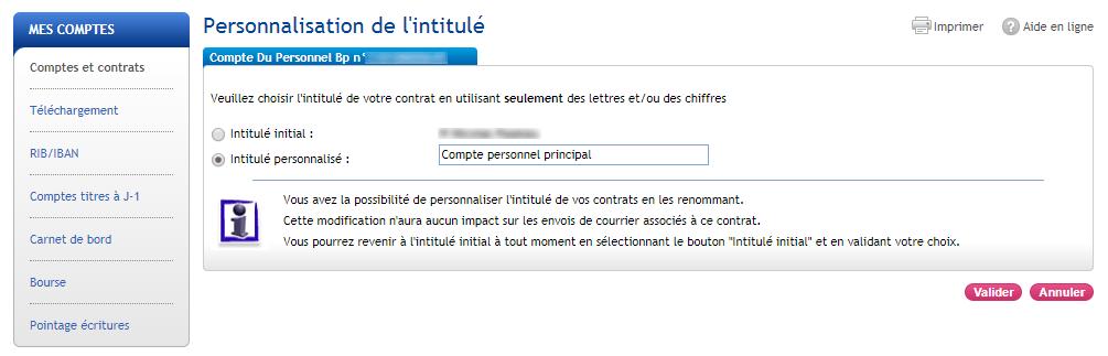 Personnalisation nom du compte